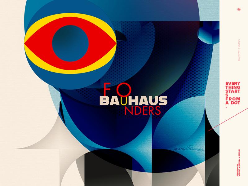 Bauhaus Founders - Celebrating the 100th Anniversary of BAUHAUS portrait bauhaus100 bauhaus faces ui graphic design people poster vector digital color wflemming illustration