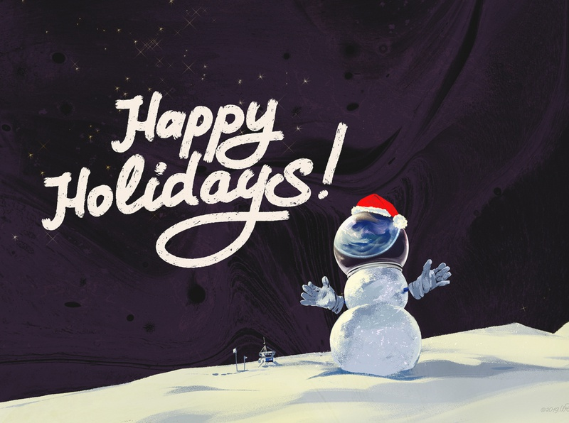 Happy Holidays snowman space mars digital color retro wflemming illustration happy holidays