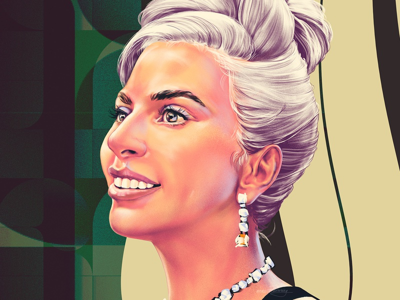 A Star Is Born oscars movie gaga talent portrait color wflemming illustration