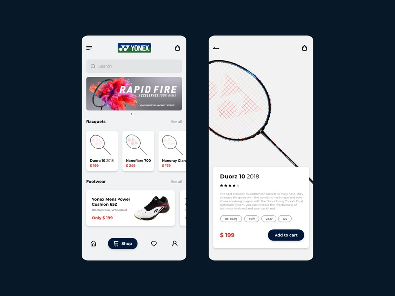 App | Yonex yonex badminton app ui design