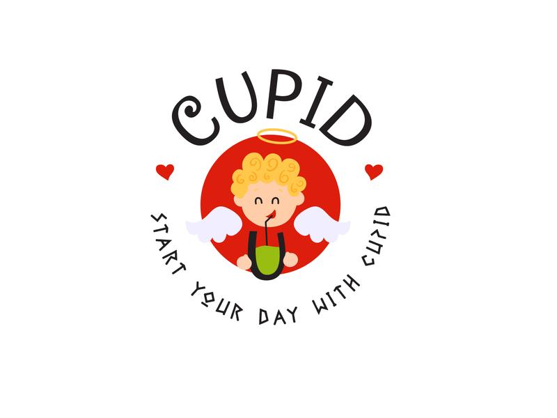 Logo | Cupid juices smoothies drink cupid designer branding illustration logo concept design