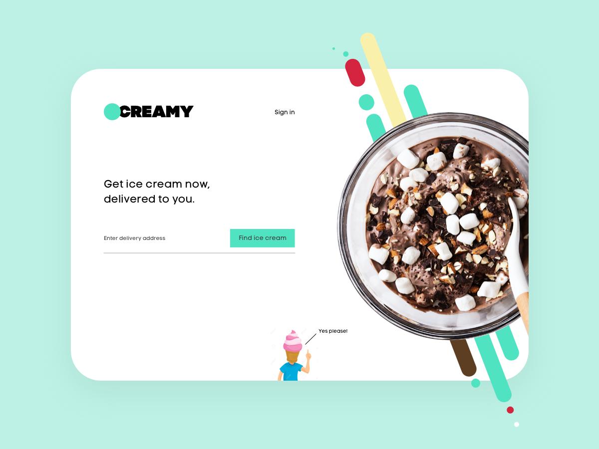 Landing Page delivery ice cream ui design ux design home page desktop design desktop landing page landingpage ux dailyuichallenge dailyui
