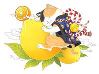 yellow peach&cat