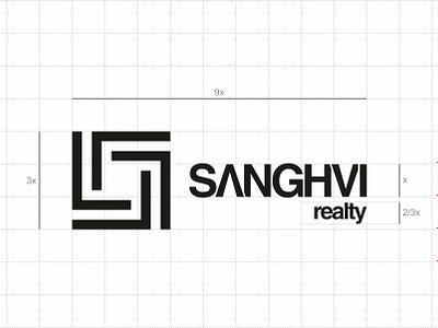 grid & proportion for Sanghvi Realty logo type kerning logomark real estate brandmark identity logo process process gridwork golden ratio ratio proportion grip logo