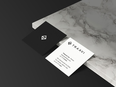 Traavi square business card design