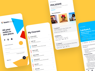 Team Study mobile courses sign in ios school notes study design ui