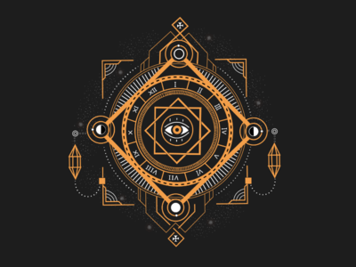 SACRED GEOMETRY FORM WITH MOON AND EYE