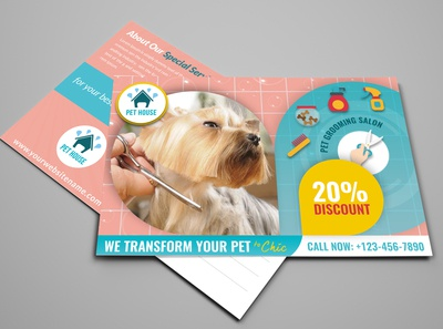 Pet Grooming Salon Postcard Template