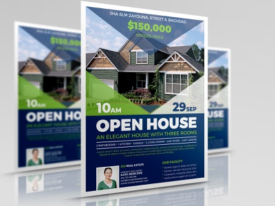Open House Real Estate Flyer Template real estate flyer template pamphlet open-house open house magazine invitation house home green for sale flyer corporate buy business brown broker house for sale flyer template agent agency real estate flyer ideas