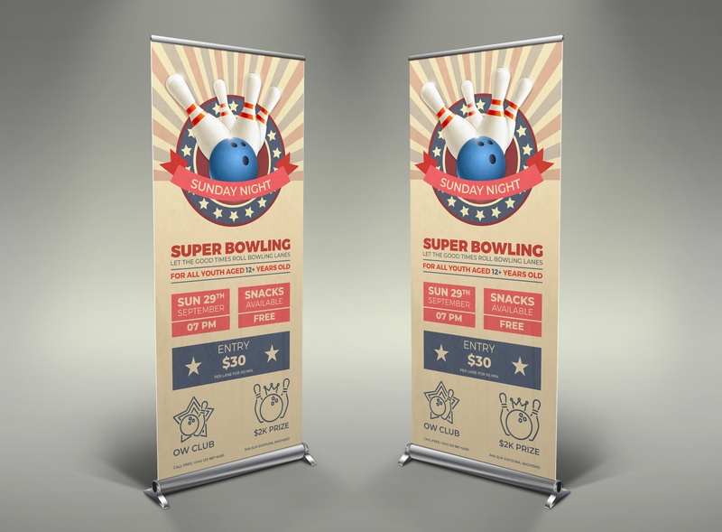 Bowling Signage Banner Roll Up Template vintage vector tournament template retro psd poster old match illustration guuver game event classic bowling tournament bowling night bowling match bowling flyer bowling banner