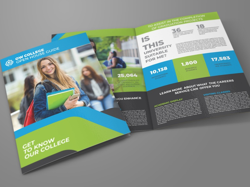 College Open House Bi Fold Brochure Template post pamphlet open-house open house open observation new year new day new magazine kindergarten kid junior house high school college child brochure advert admission