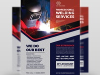 Welding Services Flyer Template worker welding welder visor torch spark retro pipe mask manufacturing illustration i-beam graphics gear fabricator fabrication design