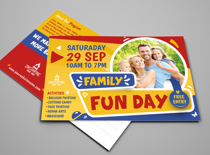 Family Fun Day Postcard Template kids kid holiday fun flyer family fair event easter day community children child camp boys and girls autumn advertisement advert ad activity