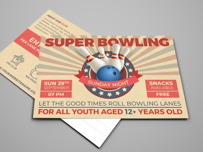 Bowling Postcard Template illustration guuver grunge game free events dirty competition community club classic charity championship card bowling tournament bowling night bowling match bowling flyer bowling ball