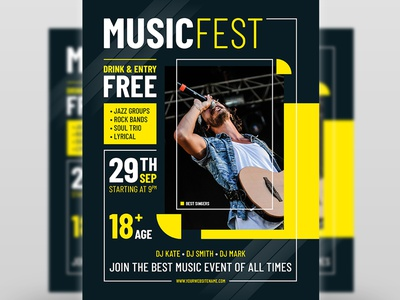 Music Fest Party Flyer Template red poster music flyer music festival music hipster headsets headphones festival flyer festival fest facebook cover event electro dj flyer dj event dj colorful flyer colorful blue