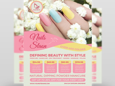 Nail Salon Flyer Template sauna salon flyer salon poster pedicure nails manicure makeup make up health hair flyer facial creambath cosmetic clinic care beauty flyer beauty center beauty