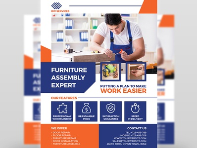 Furniture Assembly Services Flyer Template making maker leaflet installation install house home handyman hammer furniture flat drill domestic craftsman construction closet carpenter box assembly assembling