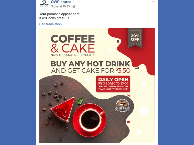 Coffee and Cake Social Media Templates instgram food fast-food facebook drink dessert design delicious cupcake cup coffee shops coffee chocolate cake shop cake cafe bistro beverage bar bakery