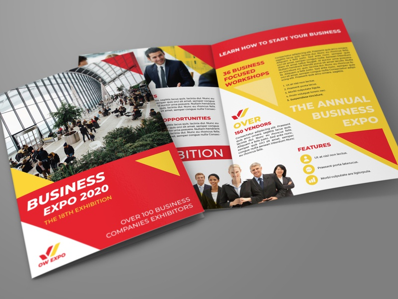 Business Exhibition Bi Fold Brochure Template fair expo flyer expo exhibition event elegant design creative corporate convention construction company clean chairman business building brochure booklet agency advertising