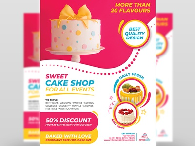 Cake Flyer Template ice cream food fast-food event drink dessert desert delicious cupcake cup coffee shops coffee chocolate cake shop cake cafe bistro beverage bar bakery