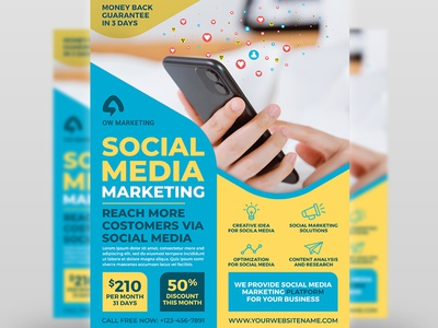 Social Media Marketing Flyer Template twitter template startup social network social media print ready poster post pintrest pamphlet network marketing marketer magazine leaflet handbill flyer facebook