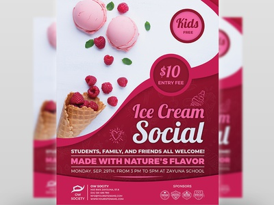 ice cream social flyer template by