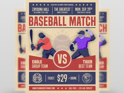 Baseball Flyer Template sport softball flyer template retro promotion poster post player play illustration helmet game fun championship baseball field baseball background baseball base ball american