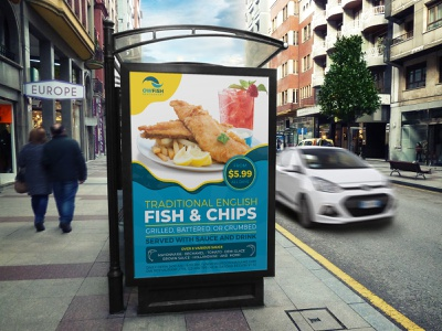 Fish and Chips Restaurant Poster Template post menu template menu flyer menu magazine ad magazine london food menu food flyer food fish n chips fish crab catering cafe menu cafe blue beach advert ad