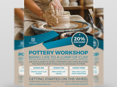 Pottery Workshop Flyer Template pottery poster pot poster porcelain oriental natural lesson handmade handicraft hand artwork hand art earthenware cut crockery creativity craft clay chinaware ceramics art