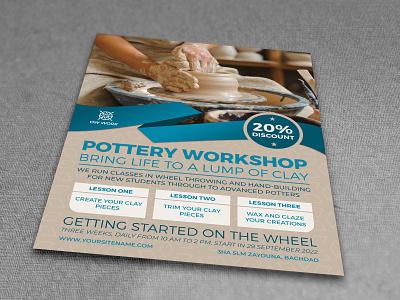 Pottery Workshop Flyer Template pottery poster pot poster porcelain oriental natural lesson handmade handicraft hand artwork hand art earthenware cut crockery creativity craft clay chinaware ceramics art