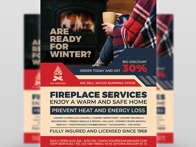 Fireplace Services Flyer Template creative leaflet winter business winter services wood burning stove winter template system sweeps services poster heating flyer fireplace chimney repair chimney man chimney cleaning chimney