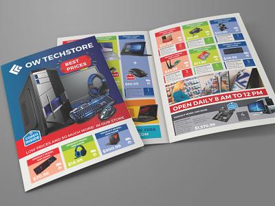 Computers and Electronics Products Catalog Bi-Fold Brochure Temp product description