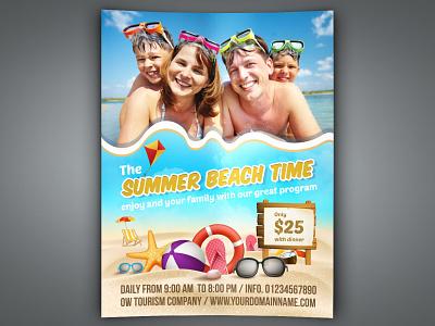 Summer Beach Flyer Template kindergarten