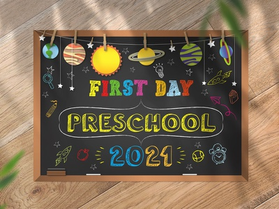 First Day Of Preschool Sign 2021 Graphic