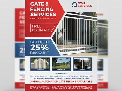Fence And Gates Services Flyer Template privacy fencing