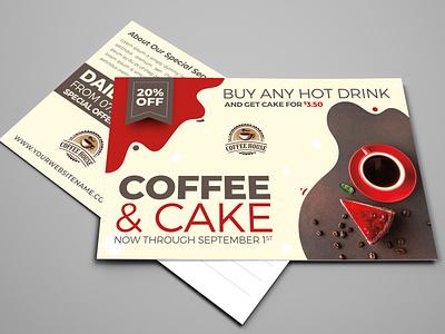 Coffee And Cake Postcard Template food