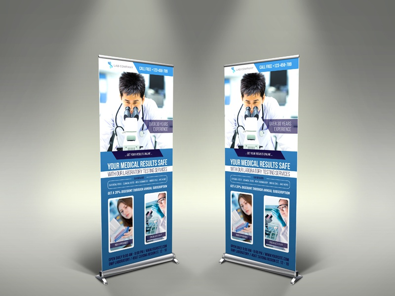 Medical Laboratory Roll Up Banner Signage Template by OWPictures ...
