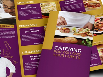 Catering Tri Fold Brochure Template services catalog brochure food catering