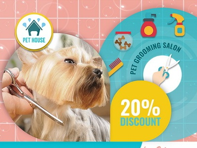 Pet Grooming Salon Flyer Template By Owpictures Dribbble