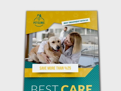 Veterinarian Clinic Dl Flyer Template cat dog animal hospital clinic leaflet flyer pet veterinarian