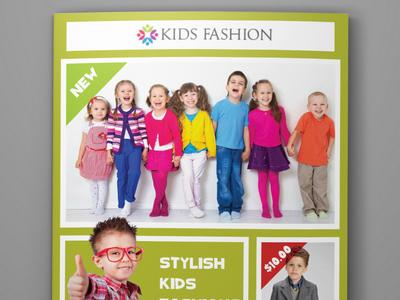 Kids Fashion Products Catalog Bi Fold Brochure Tempalte