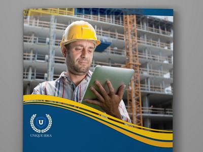 Construction Bi Fold Brochure Template build labor engineer building catalog brochure construction