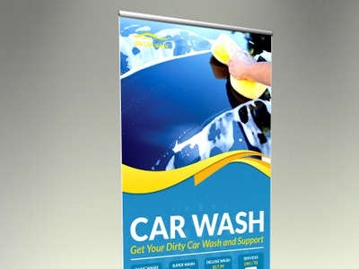Car Wash Signage Rollup Template