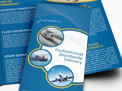 Logistics Services Tri Fold Brochure Template transportation freight airline profile company brochure dhl services logistic