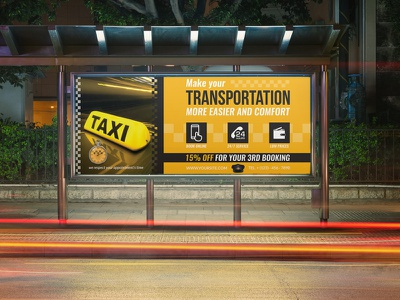 Taxi Services Billboard Template banner billboard services uber bus yellow cab taxi