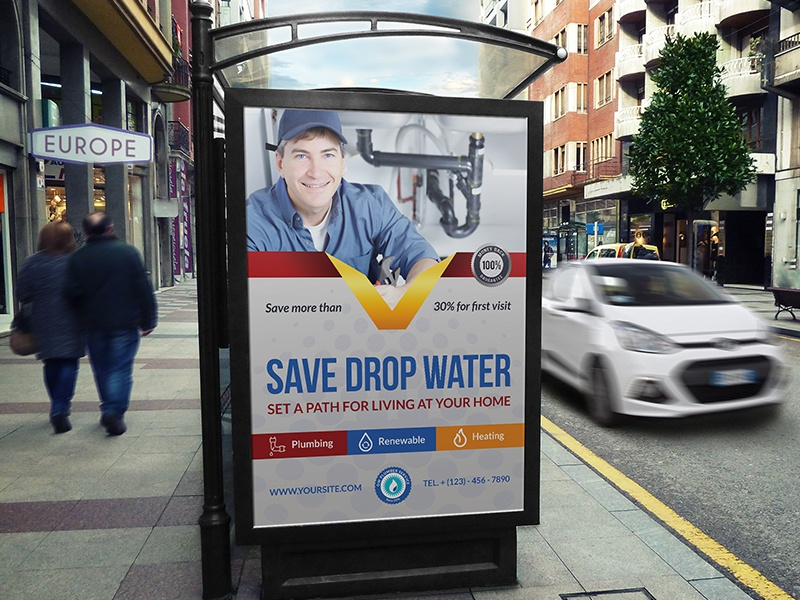 Plumber Service Poster Template poster work worker services water plumber
