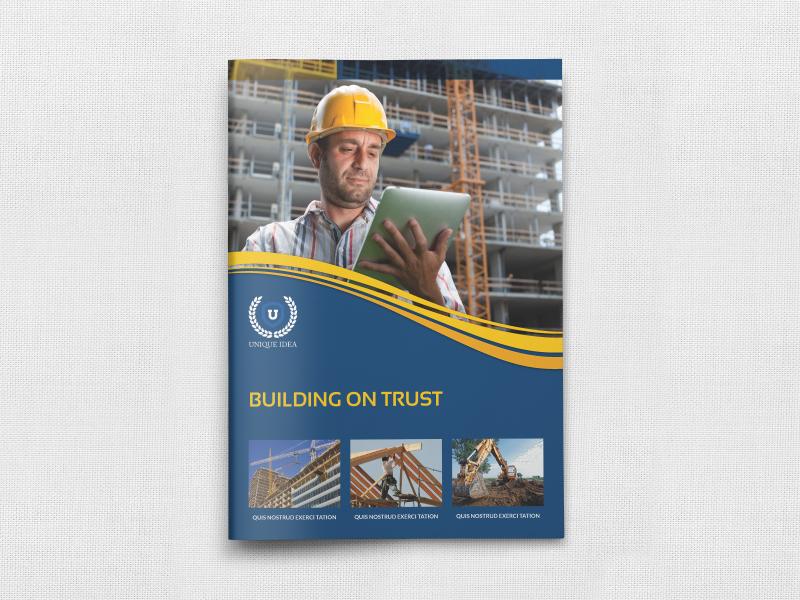 Construction Brochure Template company profile brochure work building labor construction engineer