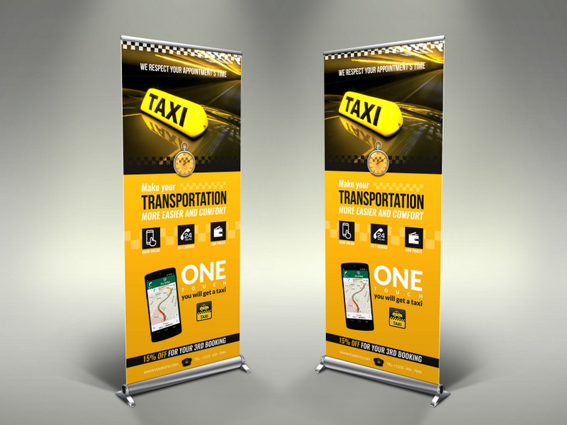 taxi services signage rollup banner template by owpictures