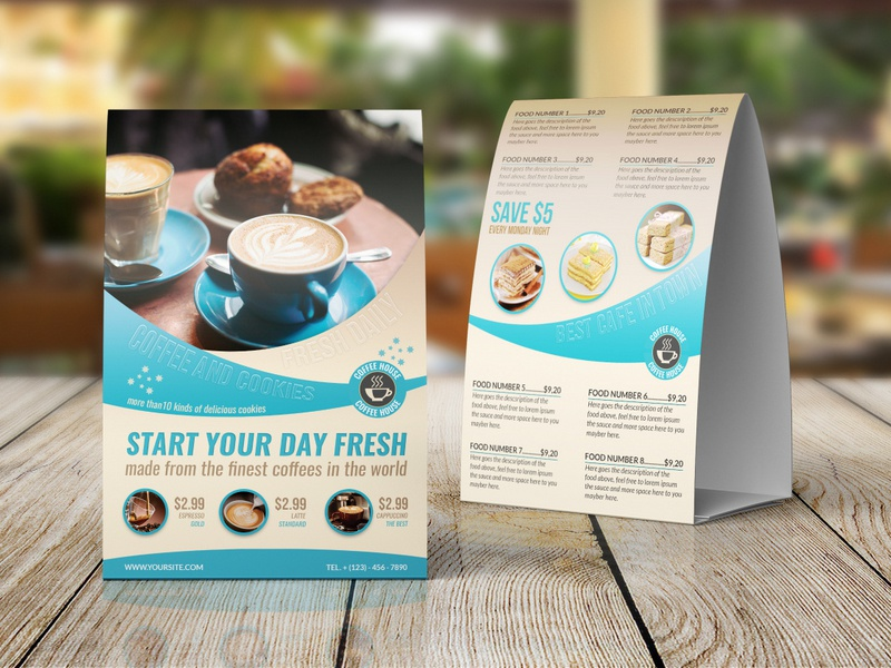 Cafe Restaurant Table Tent Template Coffee Shop Food Menu