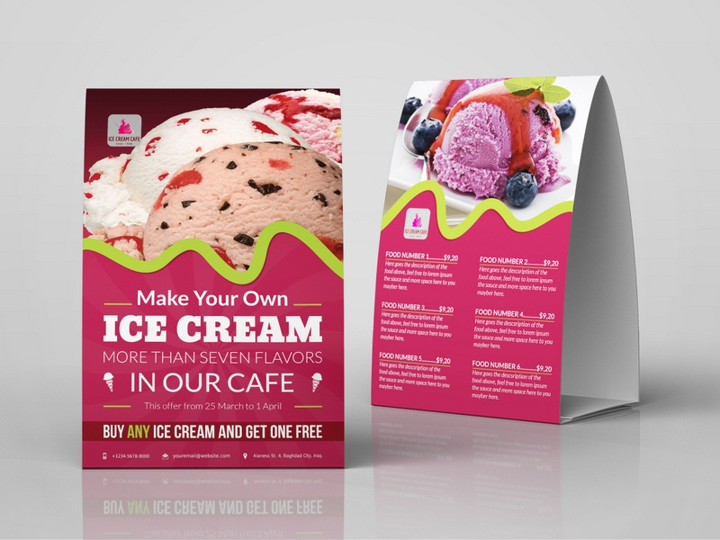 Ice Cream Table Tent Template coffee shop food menu table tent ice cream restaurant cafe sweet icecream